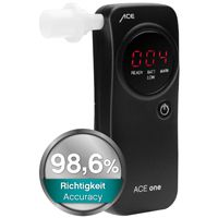 ACE one Breathalyzer, TU Vienna Accuracy 98,6%* + 25 Mouthpieces and Calibration Voucher, Black